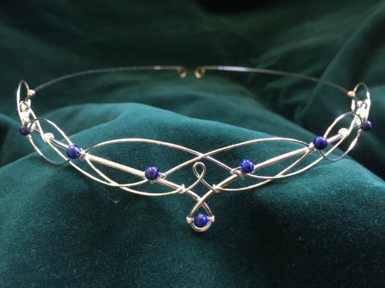 Wedding - Elven Circlet Wedding Tiara with Lapis Lazuli Boho Bride