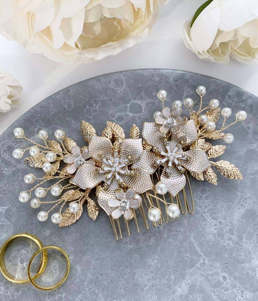 Wedding - Gold Floral Wedding Hair Accessories, Bridal Hair Comb, Bride Hair Accessory, Pearl White and Gold Flower Side Comb, headpiece