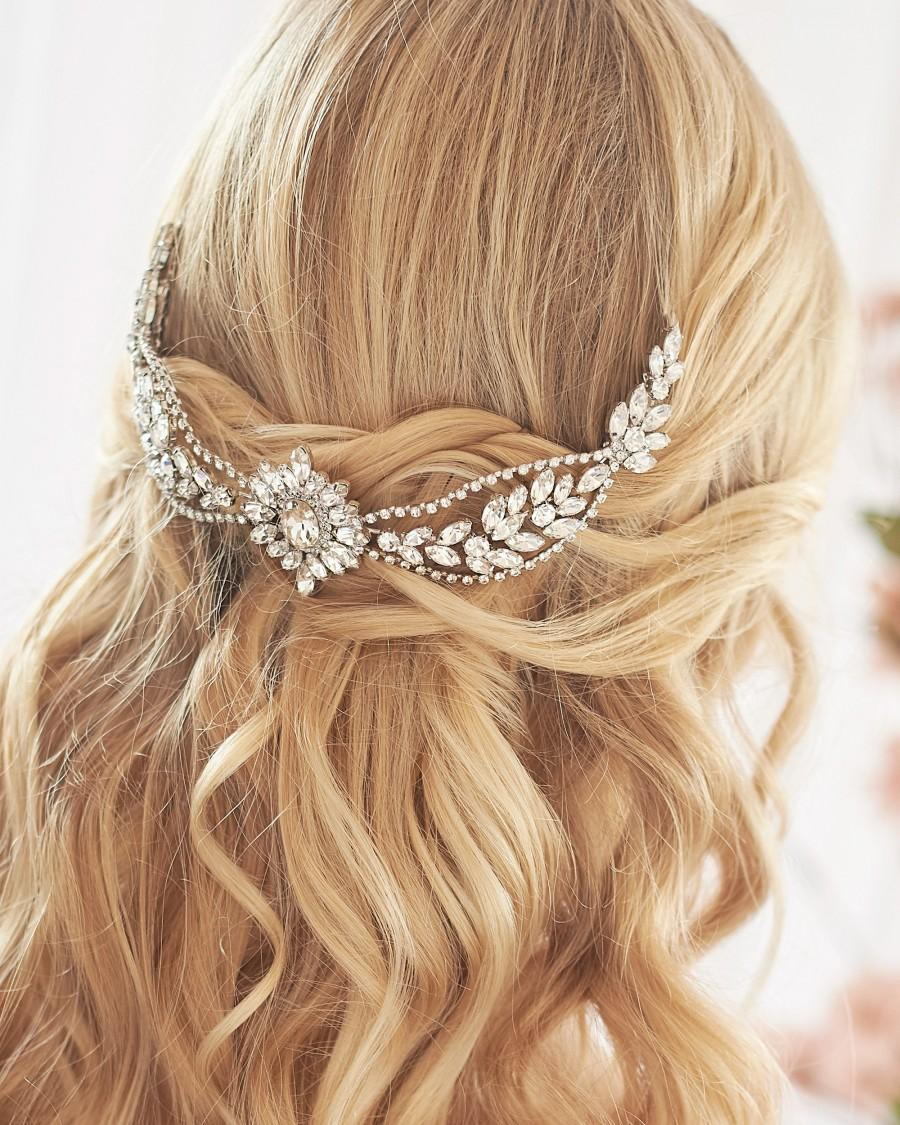 Wedding - Crystal Bridal Backpiece, Crystal Wedding Backpiece, Statement Bridal Headpiece, Wedding Headpiece, Bridal Headpiece, Crystal Backpiece~2445