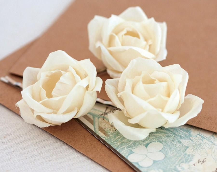 Wedding - 712 Floral hair piece Hair accessories Hair piece rose Flower hair piece Wedding bridal hair piece Floral girl hair piece Ivory roses.
