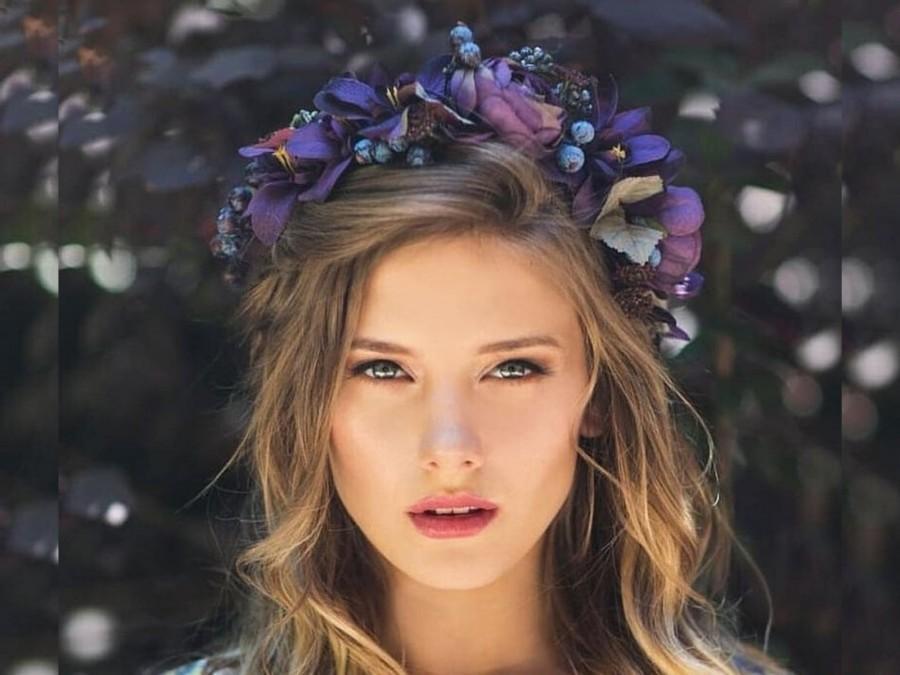 Wedding - Purple Flowers Headpiece, Fairy Flower Crown, Bridal Hair Flowers, Hair Wreath, Floral Crown, Large Flower Crown for Brides