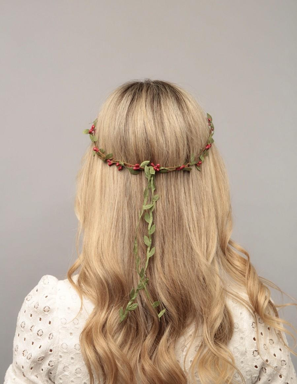 Wedding - Red green flower crown wedding floral headpiece bridal flower crown adult bachelorette flower headpiece wedding headband bridesmaid crown