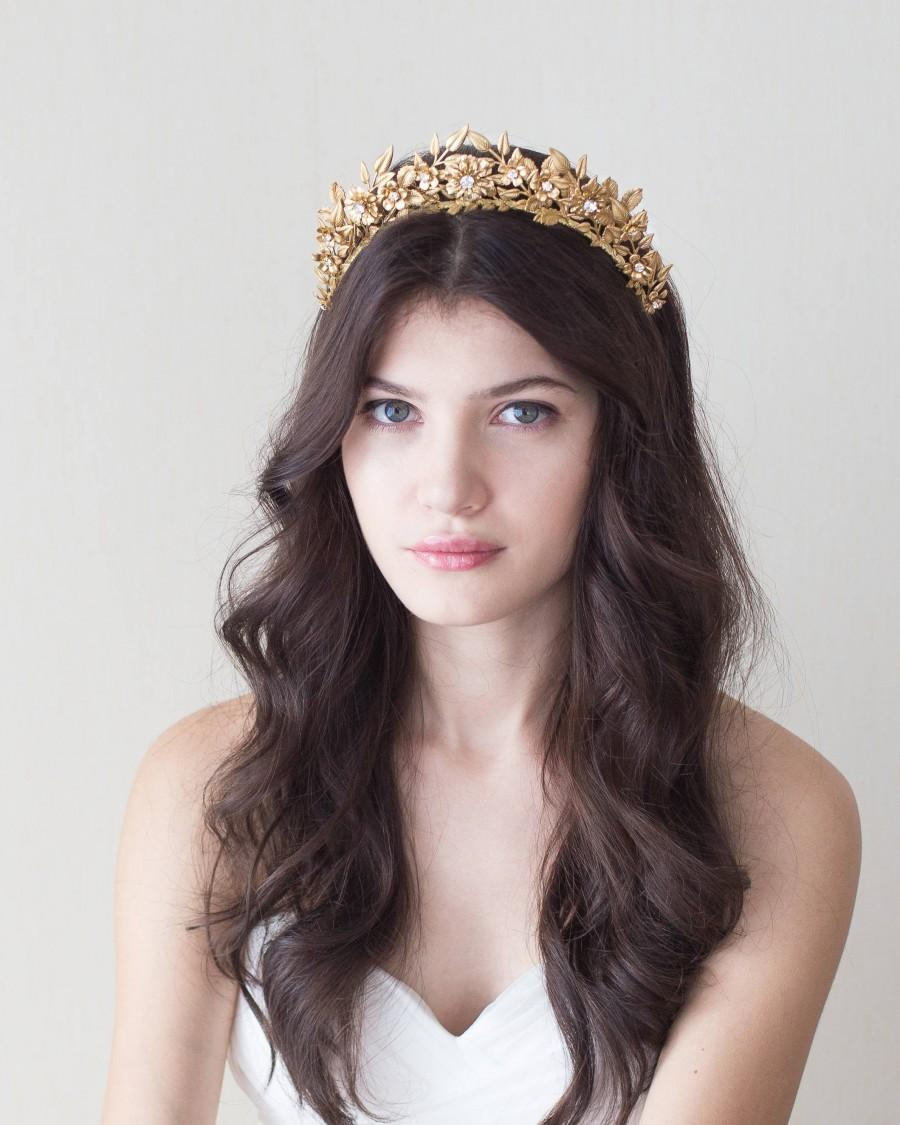 Wedding - Bridal crown. Bridal headpiece. Gold crown. Gold leaves crown.Wedding crown. Style 813