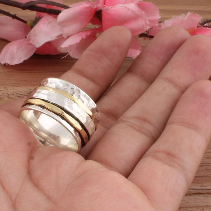 Wedding - Spinner Two Tone Ring,925 Sterling Silver Spinner Ring,Meditation Band Spinner Ring,Handmade Thumb Spinner Ring,Boho Silver Spinner Ring