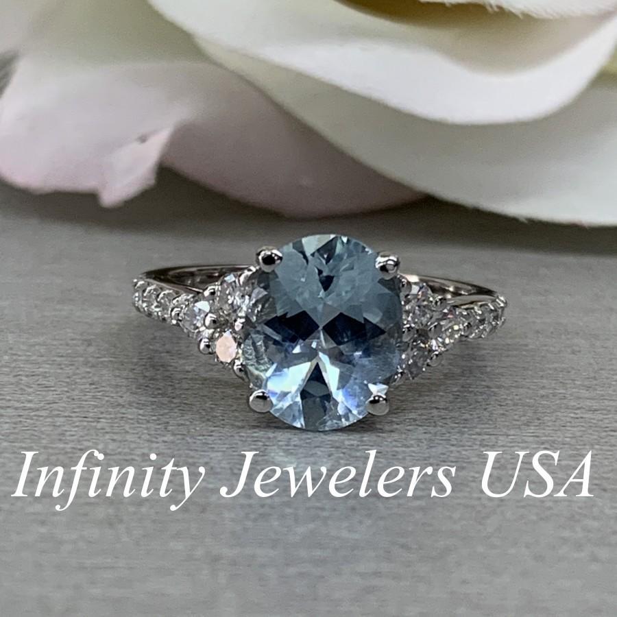 Mariage - Art Deco Aquamarine Ring, Aquamarine Engagement Ring, March Birthstone Ring, Aquamarine Ring For Women, 14K Gold, Light Blue Ring, #6688
