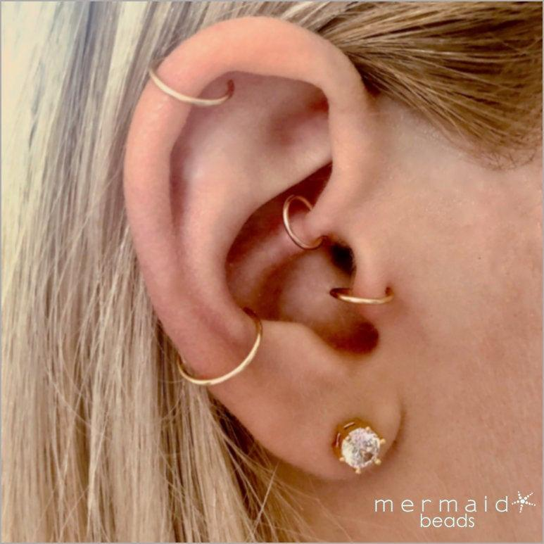 Wedding - Cartilage Earring Daith Hoop Earrings Ear Candy Helix Tragus Endless Hoop Gold Silver Rose Gold Tiny Multiple Piercing Rook Conch Nose Ring