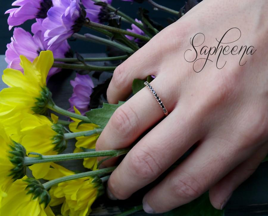 Свадьба - Dainty Black Spinel Eternity Wedding Band in 14k Rose/White or Yellow Gold,Half Eternity Band, Stacking Ring,Engagement,Bridal by Sapheena