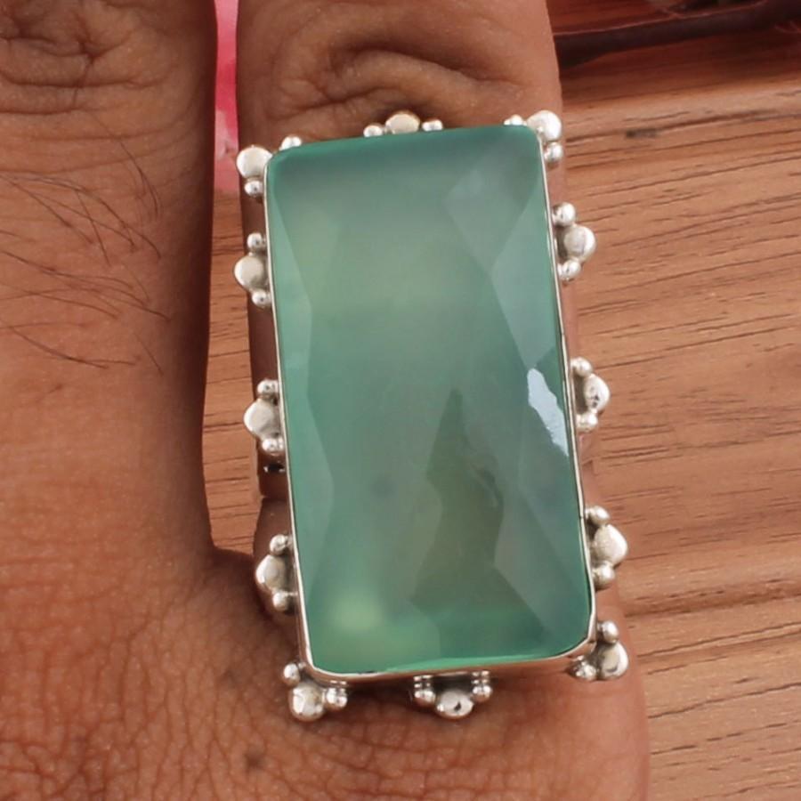 Wedding - Aqua Calci Gemstone,Solid Silver Ring,Handmade Ring, 925 Sterling Silver Ring,Aqua Calci AAA+Quality Gemstone Anniversary Gift Item Ring