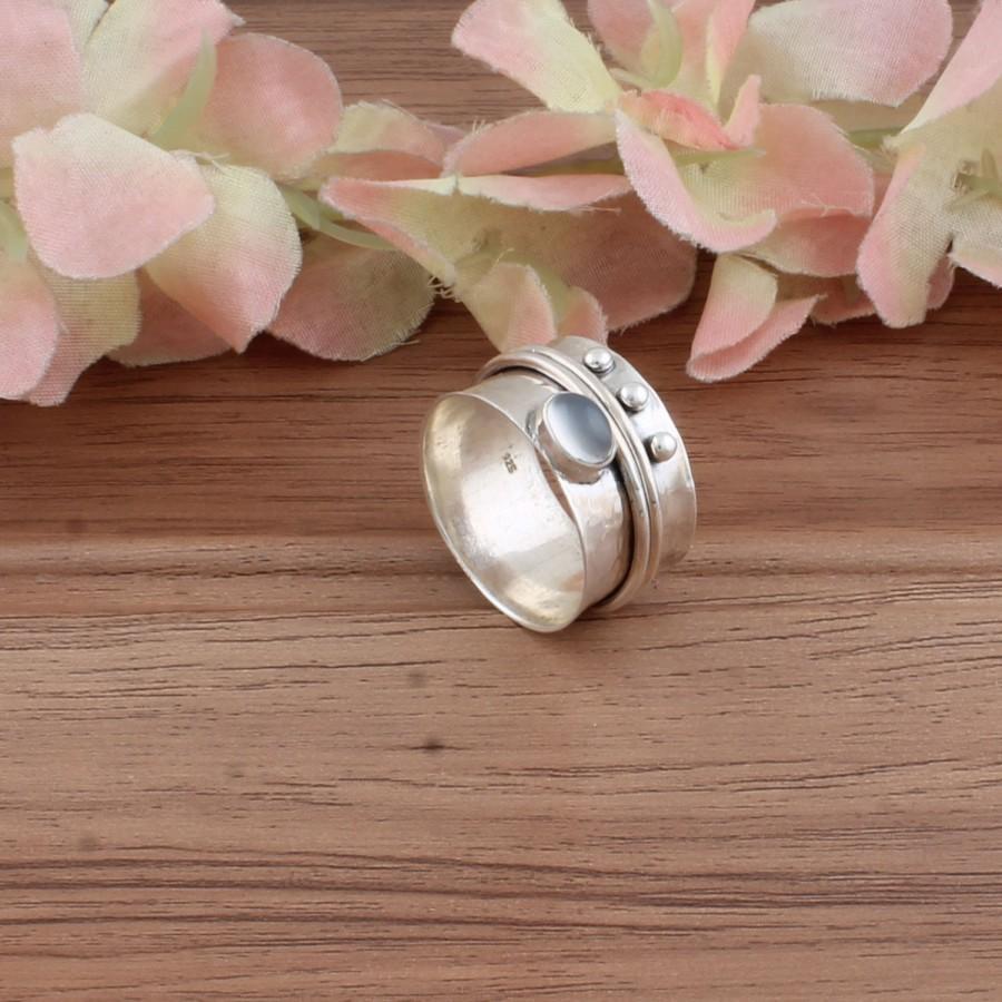 Wedding - Boho Silver Ring, Moonstone Semi Precious Stone Ring, 925-Sterling Silver Ring,Boho Spinner Ring,Thumb Ring,Gift Item Spinner Ring