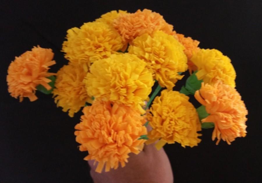 Wedding - Day of the Dead 12 Orange and Yellow Marigolds, Dia de Los Muertos, Mexican Flowers, Crepe Paper Flowers, Wedding Fiesta, Cinco de Mayo