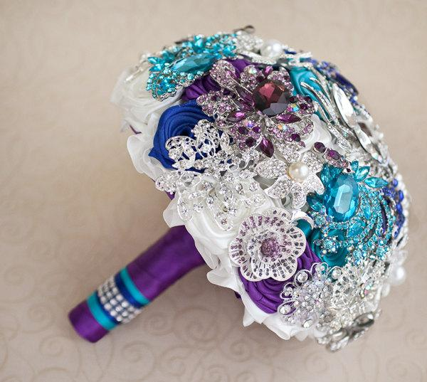 Wedding - Brooch bouquet. Purple, Teal, Blue, White and Silver wedding brooch bouquet, Jeweled Bouquet. Made upon request
