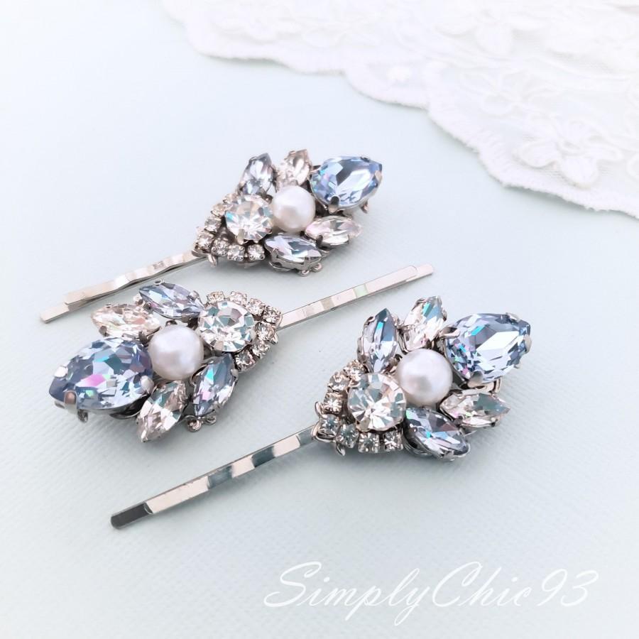 Hochzeit - Snow Blue Pins, Light Sapphire Blue Swarovski Crystal Hair Pin. Vintage Dusty Blue Hair Clip,Head Piece, Wedding Crystal Hair Bobby Pin