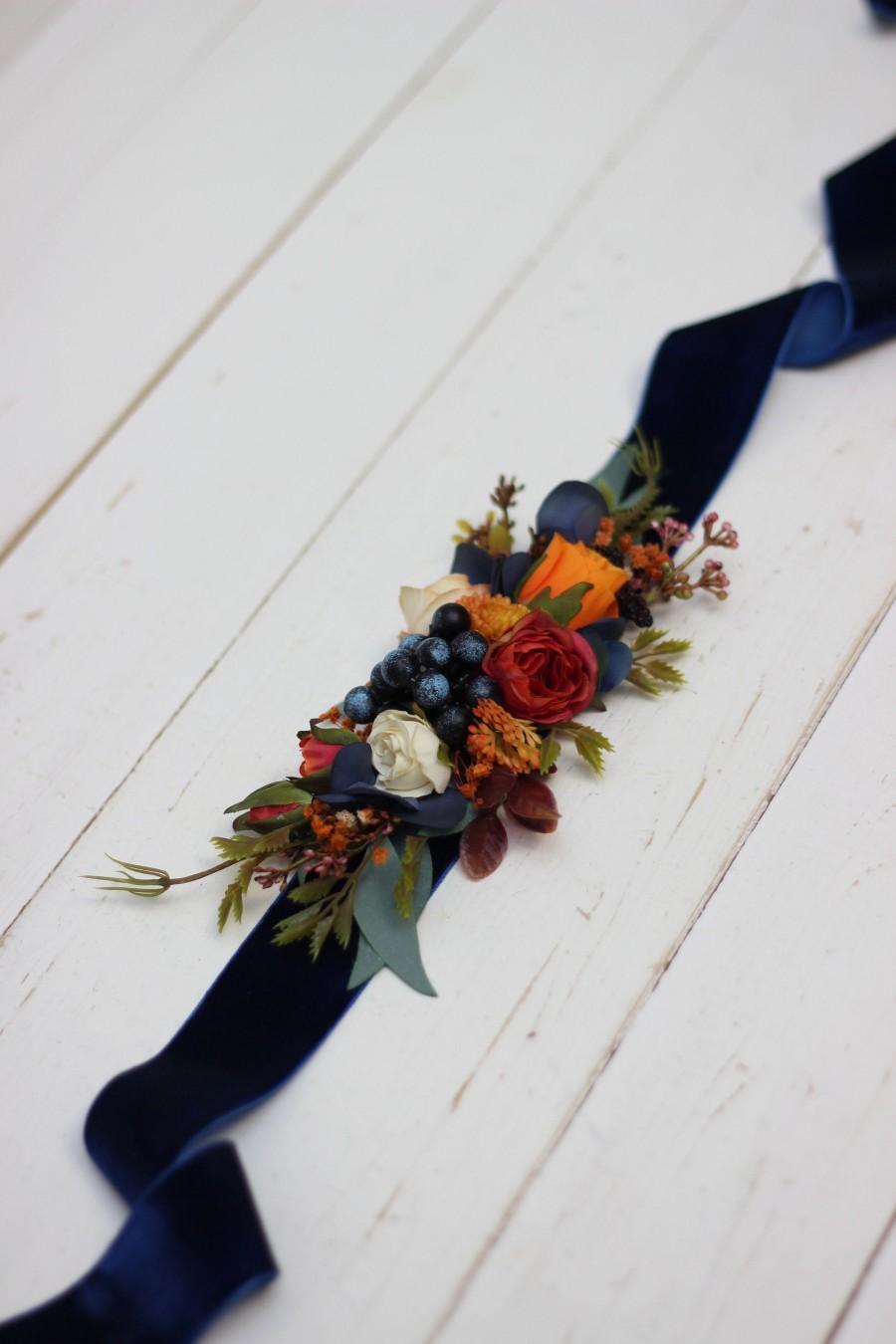 Hochzeit - Orange navy blue flower belt  Fall wedding  Floral sash Bridal belt Flower girl belt
