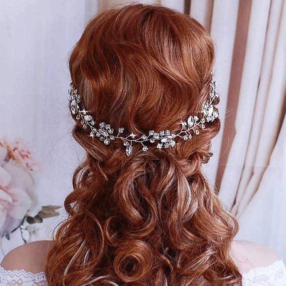 Hochzeit - Bridal Hair Vine Wreath Headpiece Bride Party Headband Wedding Weddings Accessory Crystal Jewelry Brides Accessories Head Piece Hairpiece
