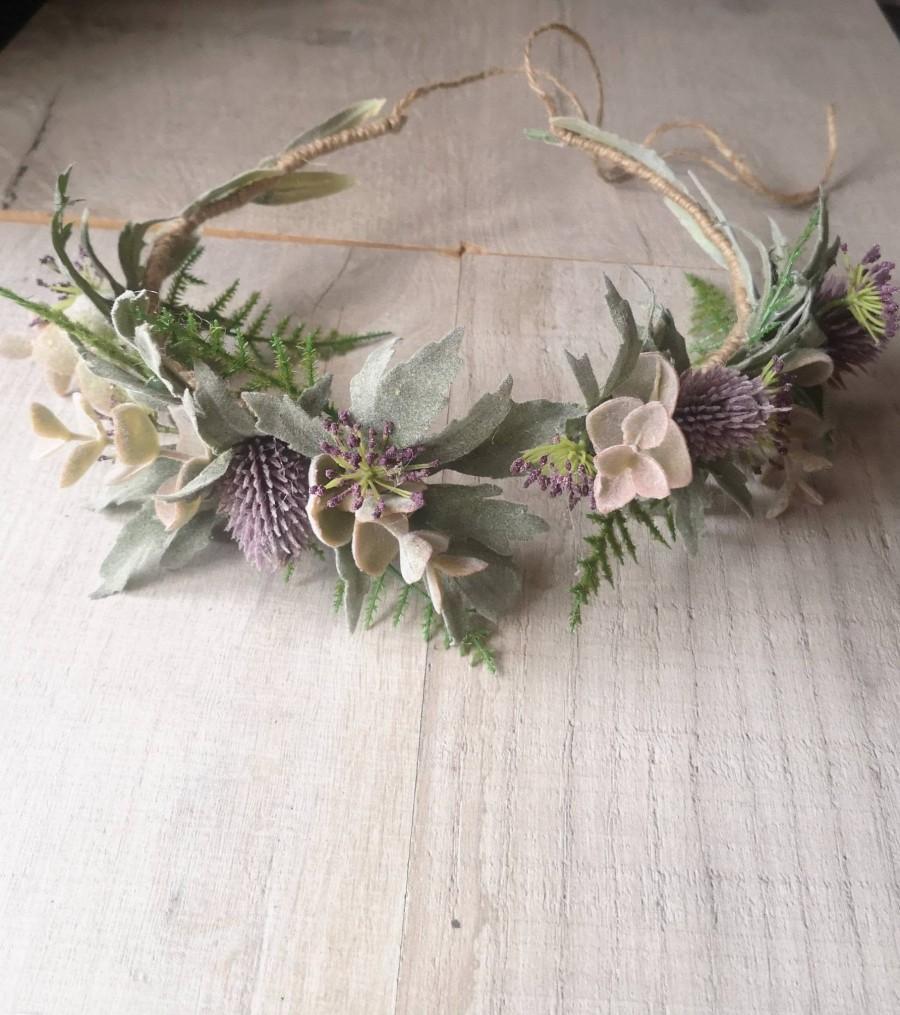 Hochzeit - Beautiful Thistle crown/ Wedding hair piece/soft peony/ boho wedding/crown/bridesmaids/floral hair piece/wild flowers/thistle