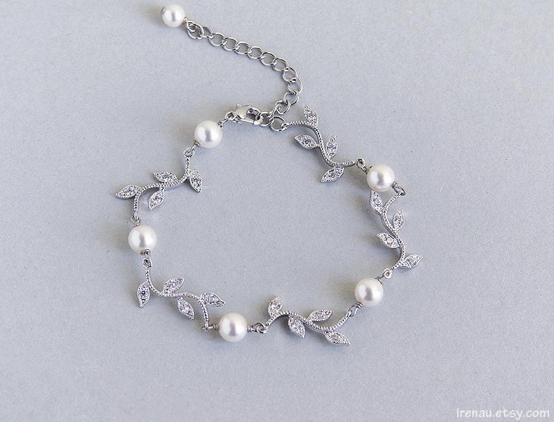 Wedding - Bridal vine bracelet, White pearls bracelet CZ crystal bridal bracelet Leaves Floral wedding bracelet Cubic zirconia silver clear crystal