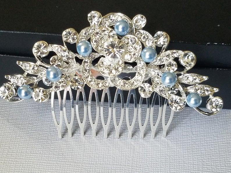 Wedding - Crystal Bridal Hair Comb, Wedding Blue Pearl Crystal Hair Piece, Light Blue Pearl Headpiece, Bridal Hair Jewelry, Crystal Silver Floral Comb