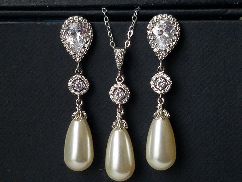 Wedding - Pearl Bridal Jewelry Set, Swarovski Ivory Pearl CZ Earrings Necklace Set, Teardrop Pearl Chandelier Earrings, Single Pearl Silver Pendant