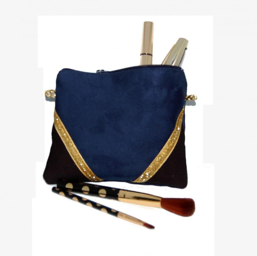Wedding - Pouch, mini bag, makeup Kit in black faux suede and Blue Navy, Golden - after the beach graphic lines