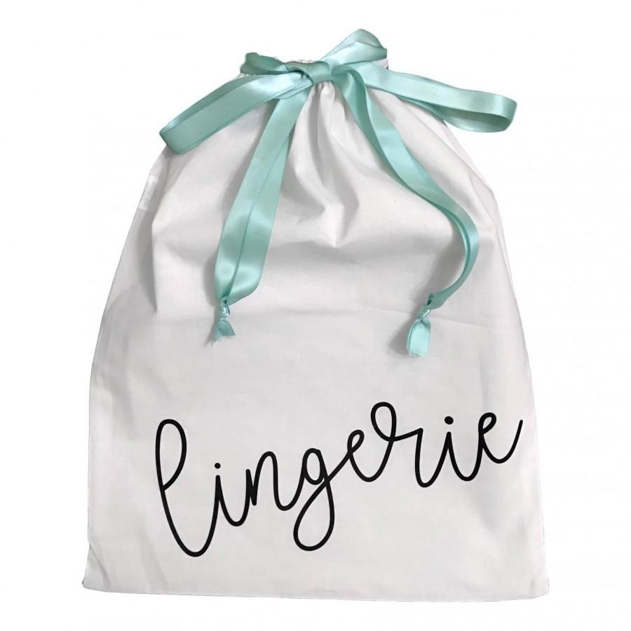 Wedding - Lingerie Travel Bag with Satin Drawstring Bridesmaids, Wedding, Personalized Available