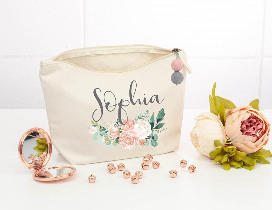 Wedding - Personalised Makeup Bag with pompom Peony Makeup Bag, Personalised bridesmaid gift, Bridesmaid Proposal gift,  Toiletry bag, Birthday gift