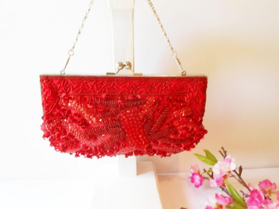 Wedding - Red Beaded Evening Bag, Red Bead Clutch, Holiday Handbag, Party Bag, Special Occasion Bag, Red Bead Purse  EB-0036