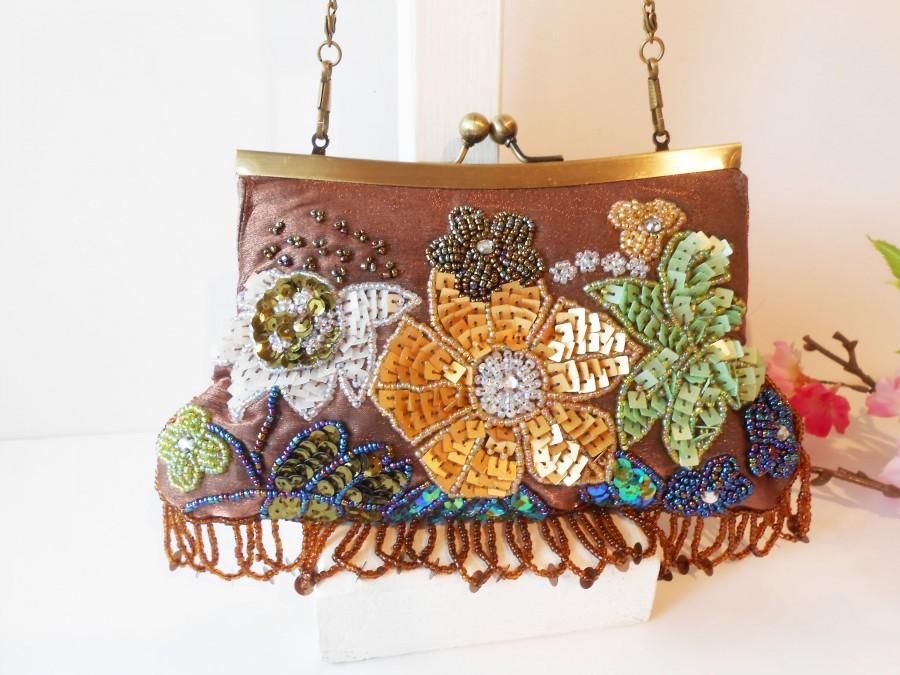 Wedding - Vintage Brown Beaded Evening Bag,, Beads and Sequins, Beaded Clutch Bag,  EB-0270