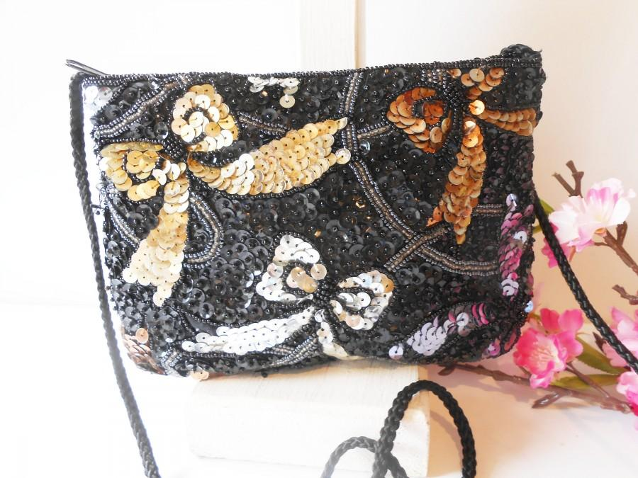 Wedding - Black Beaded Evening Bag, Gold Silver Accent, Vintage Beaded Clutch Bag EB-0103