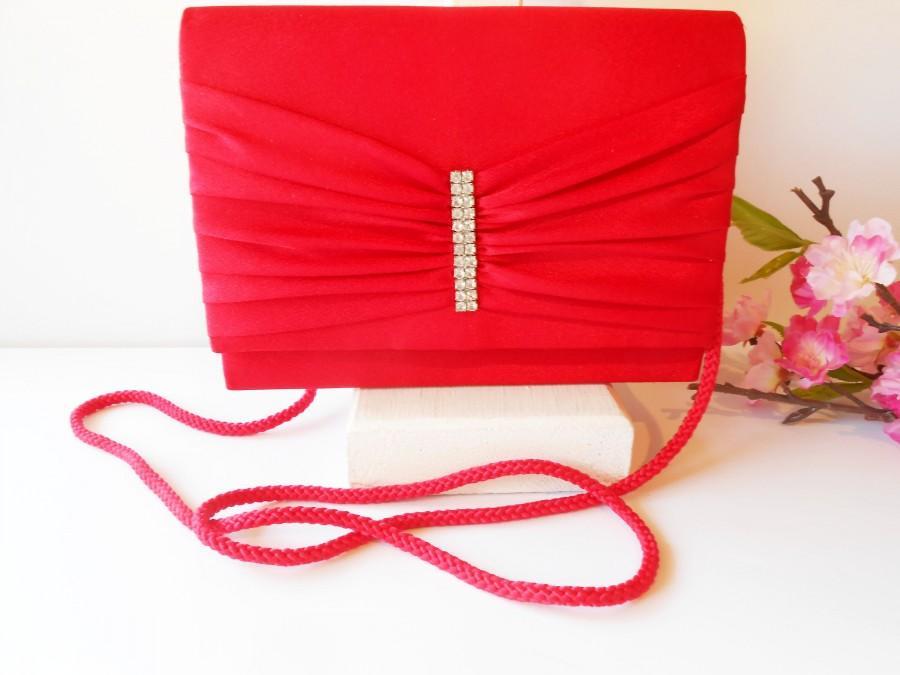 زفاف - Vintage Red Evening Bag, Red Clutch Handbag, Rhinestone Trim,  EB-0327