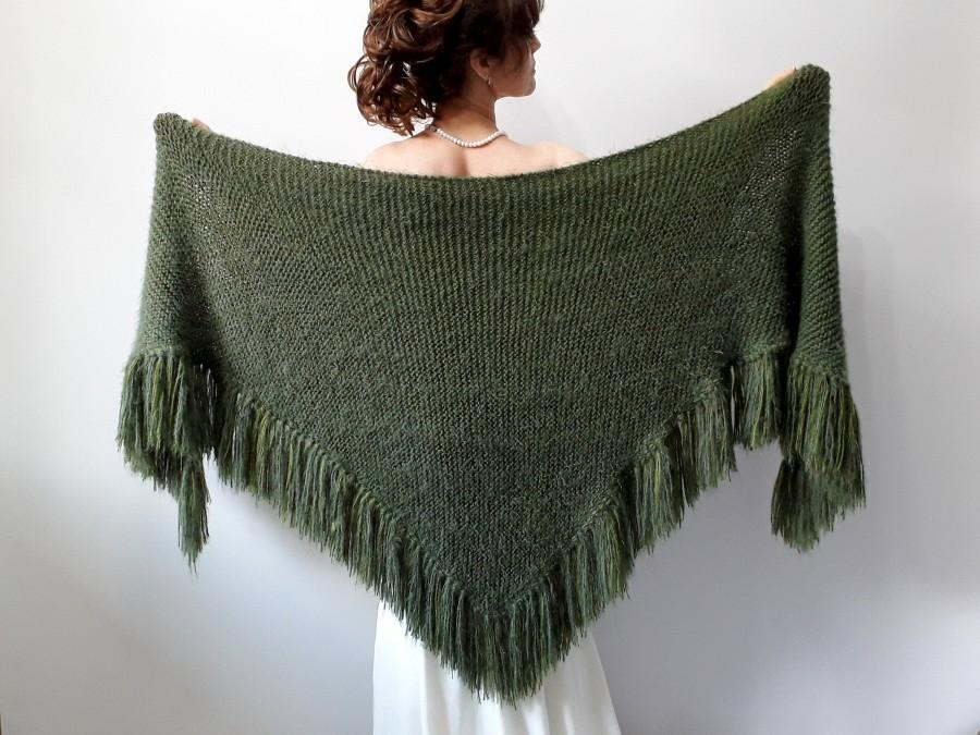 Wedding - Green shawl, knitted wrap, mohair scarf, bridal cover up, mohair wrap, bridesmaid gift, winter wedding, fuzzy, wool, fringed, fast shipping