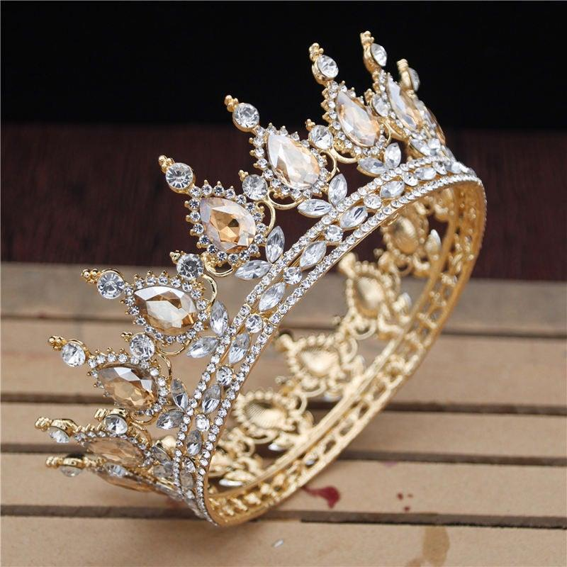 Mariage - BEPHORA Handmade Crystal Vintage Royal Queen King Tiaras and Crowns MenWomen Pageant Prom Diadem Ornaments Wedding Hair Jewelry Accessories