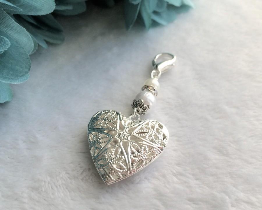 Wedding - Heart Locket Wedding Bouquet Charm, Bridal Charm, Memorial Charm, Pendant, Heart Wedding Charm, Shower Gift, Something Blue