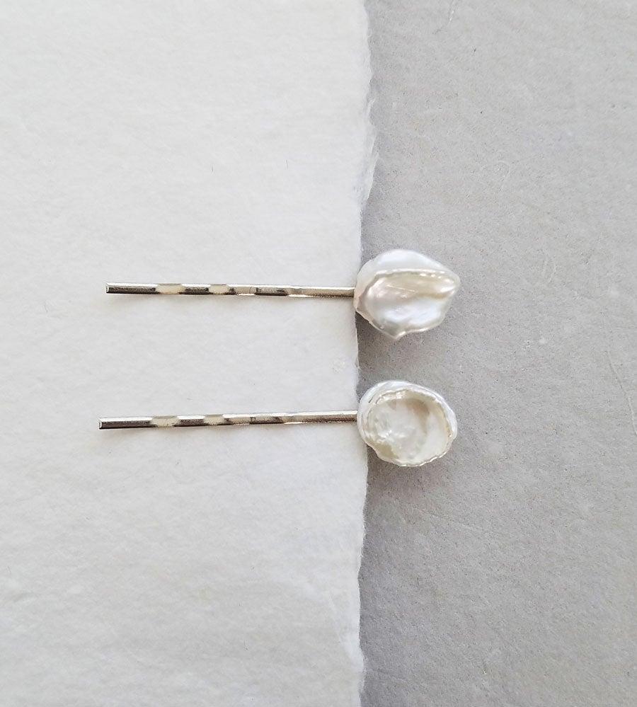 Mariage - Keshi Pearl Bobby Pins, Bobby Pin Set, Pearl Bridal Hair Pin, Bridesmaid Gifts, Pearl Hair Accessories