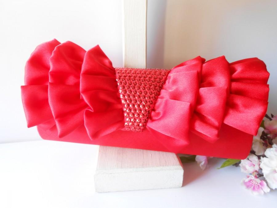 Wedding - Red Evening Bag, Red Clutch Handbag, Glam Red Purse, Red Cocktail Purse EB-0724