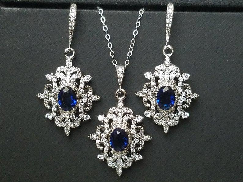 Wedding - Bridal Jewelry Set, Wedding Earrings&Necklace Set, Navy Blue Silver Halo Jewelry Set, Vintage Bridal Jewelry Sapphire Blue Victorian Jewelry