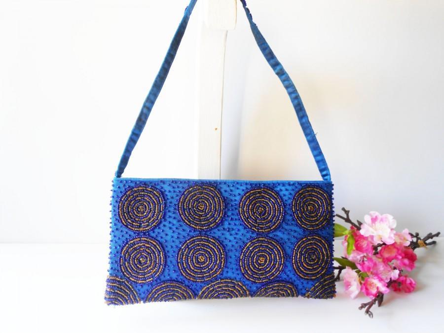 Wedding - Blue Evening Bag, Vintage Blue Handbag Gold Bead Trim,  Blue Bead Clutch Bag, EB-0627