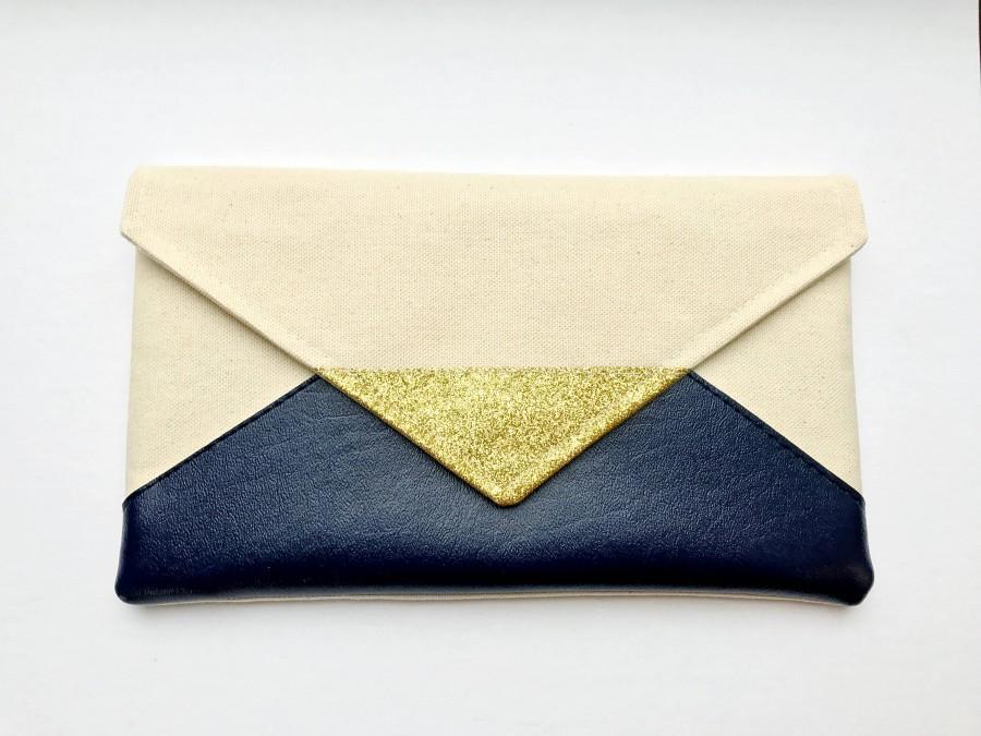 Mariage - Navy Glitter Envelope Clutch, Glitter bridesmaid clutch, bridesmaid gift, bridal clutch, wedding gift set, gift for her