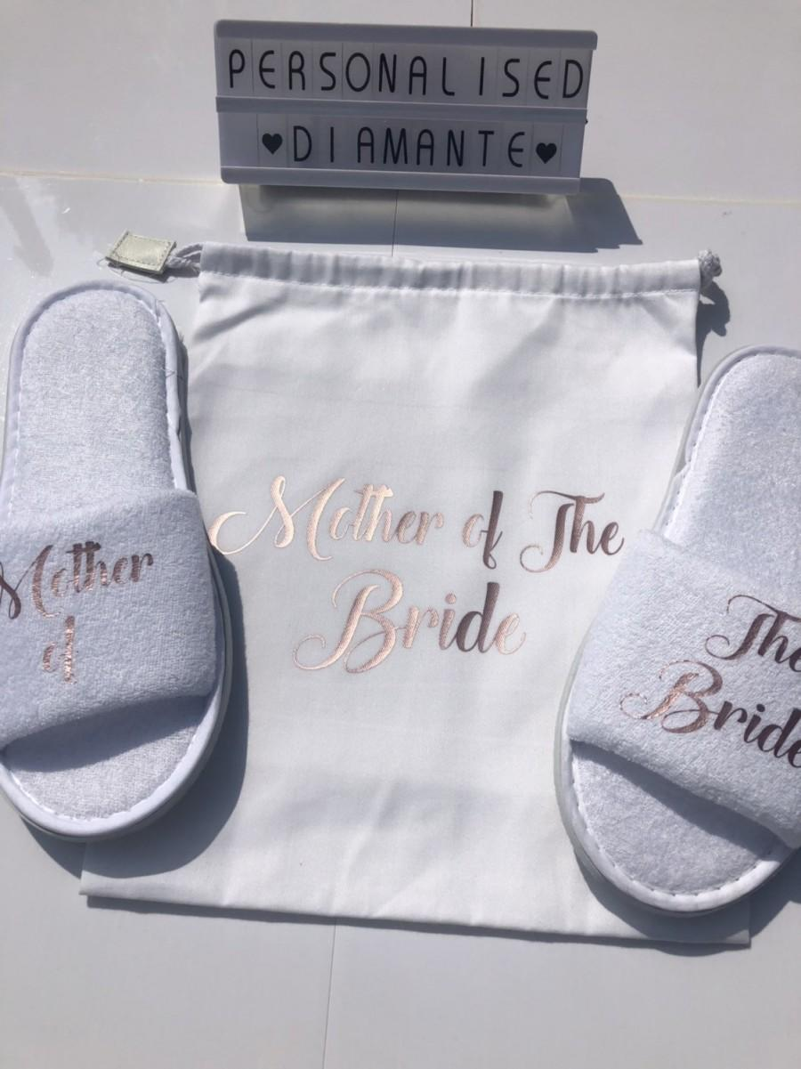 Wedding - Mother of the bride gift set, mother of the bride gift, mother of the bride slippers, mother of the bride, bride to be, bridal party slipper