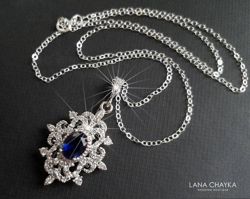 Wedding - Navy Blue Crystal Necklace, Sapphire Crystal Necklace, Wedding Navy Blue Jewelry, Cubic Zirconia Bridal Necklace, Royal Blue Silver Pendant