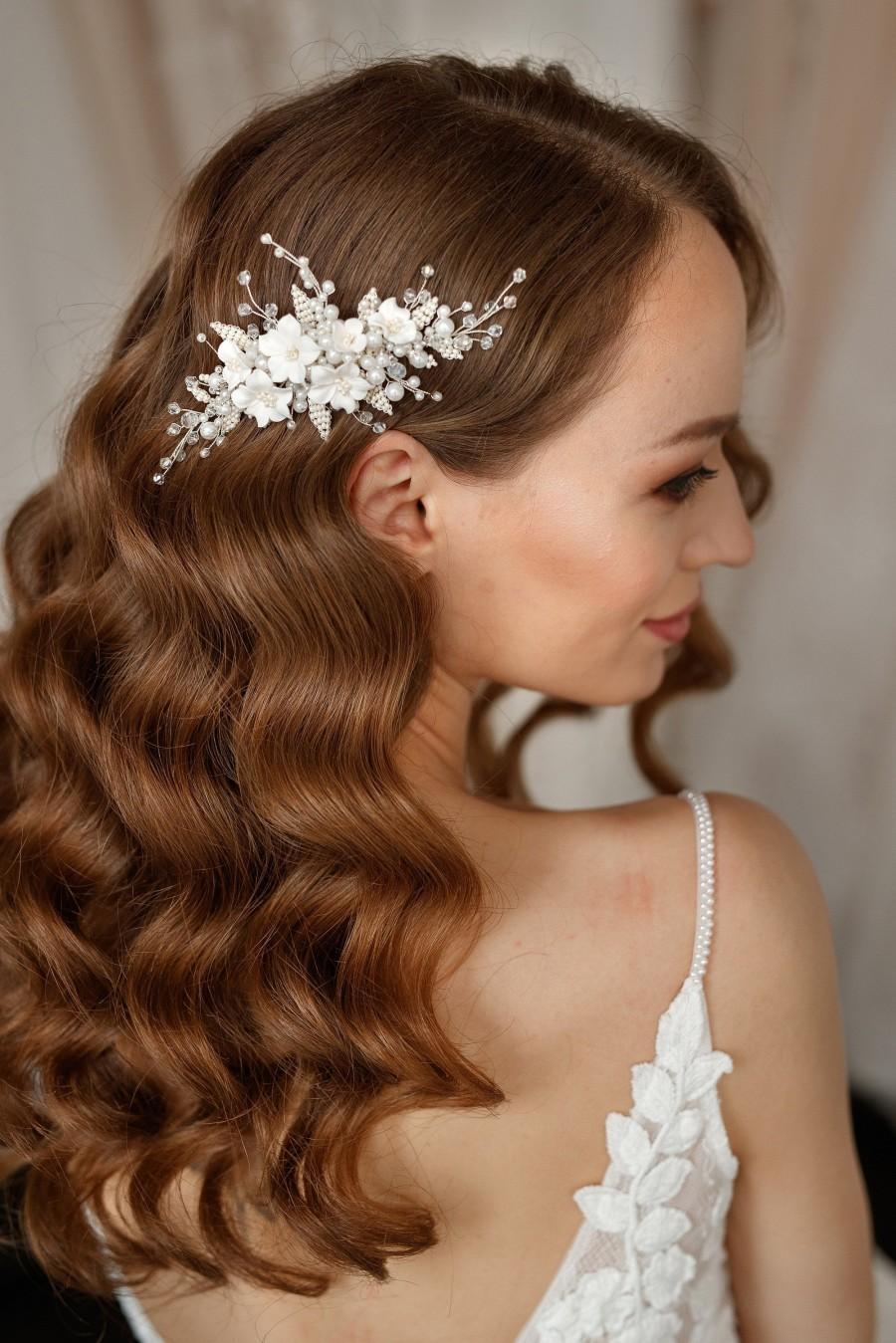Wedding - Pearl Bridal Hair Comb, Silver Wedding Hair Vine, Wedding Flower Comb, Floral Hair Piece