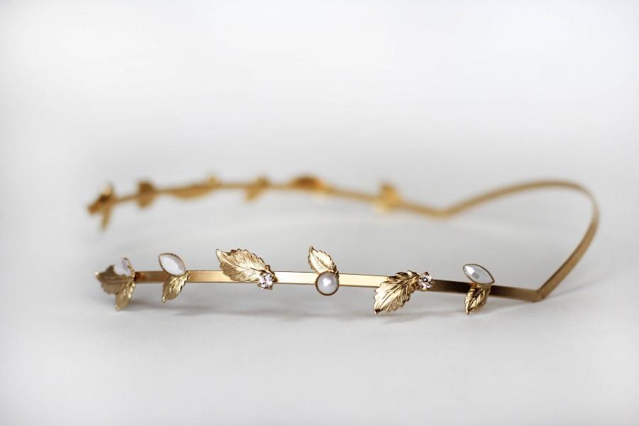 Wedding - Bloom Field Crystals and Pearls Greek Goddess Headband, Gold Leaf Wreath, Bridal Hair Accessories, Backwards Headband, Roman Headband