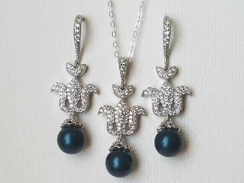 Wedding - Peacock Pearl Jewelry Set, Swarovski Petrol Pearl Silver Set, Wedding Dark Teal Earrings Necklace Set, Peacock Pearl Earrings, Teal Pendant