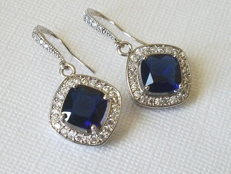 Wedding - Navy Blue Crystal Bridal Earrings, Blue Silver Crystal Earrings, Bridal Dangle Earrings, Chandelier Wedding Earrings, Bridal Jewelry