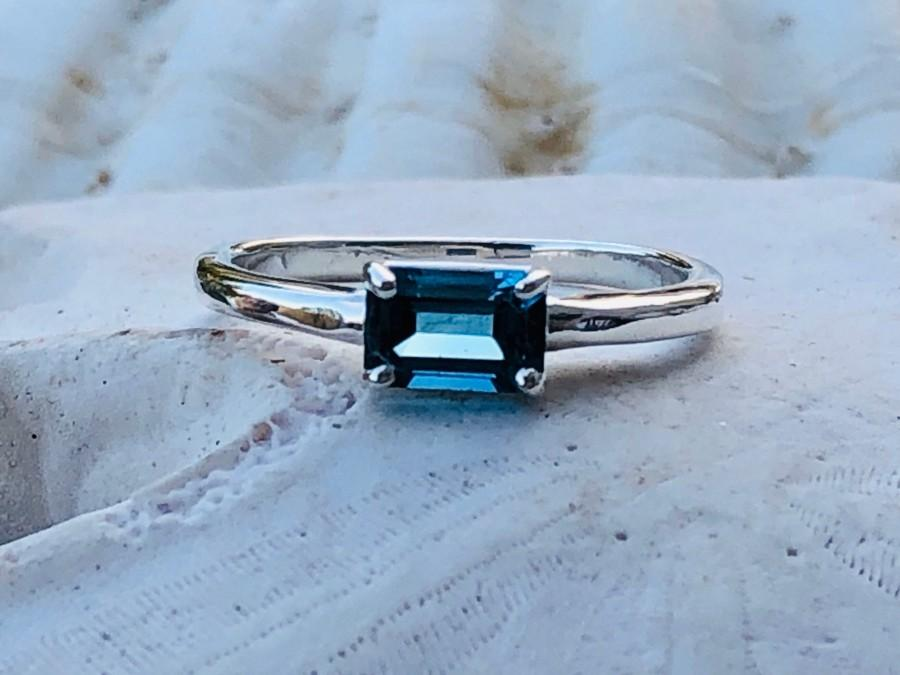 Wedding - London Blue Topaz Ring, London Blue Topaz Engagement Ring, Emerald Cut Blue Topaz, Solitaire Setting, Stacking Ring, East West Setting