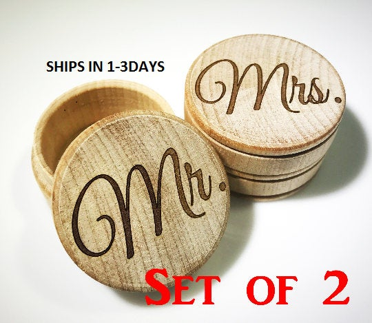 Wedding - Mr Mrs, Wedding Ring Box, Ring Bearer Box, Wedding Ring Keepsake, Ring Box, Jewelry Box, Rustic Ring Box, Wedding, Wooden Trinket Box