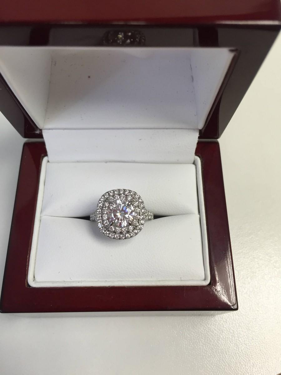 Wedding - Cushion Diamond Double Halo Split Shank Engagement Ring with 6.5mm Round Forever One Moissanite (1.00DEW) from Charles & Colvard