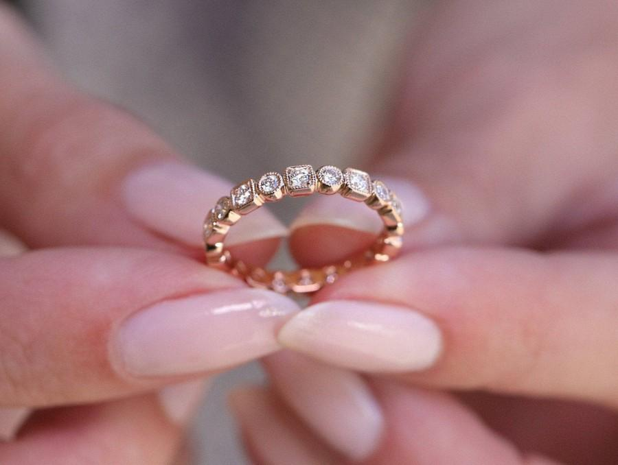 Wedding - Vintage Rose Gold Wedding Band, Moissanite Full Eternity band, Unique Art Deco Womens Anniversary Band, Solid Gold Ring for Her