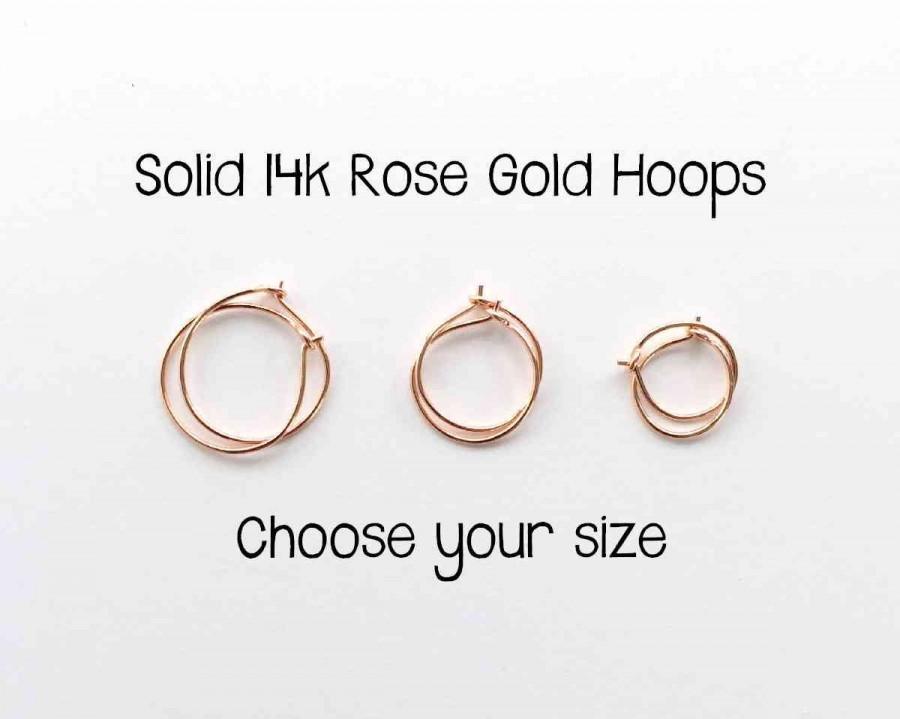 Wedding - Solid 14k ROSE Gold Hoops. 14k Solid Gold Hoop Earrings. Pink Gold Hoop Earrings. Real Gold Hoops. Solid Rose Gold Hoops. Minimalist Hoops