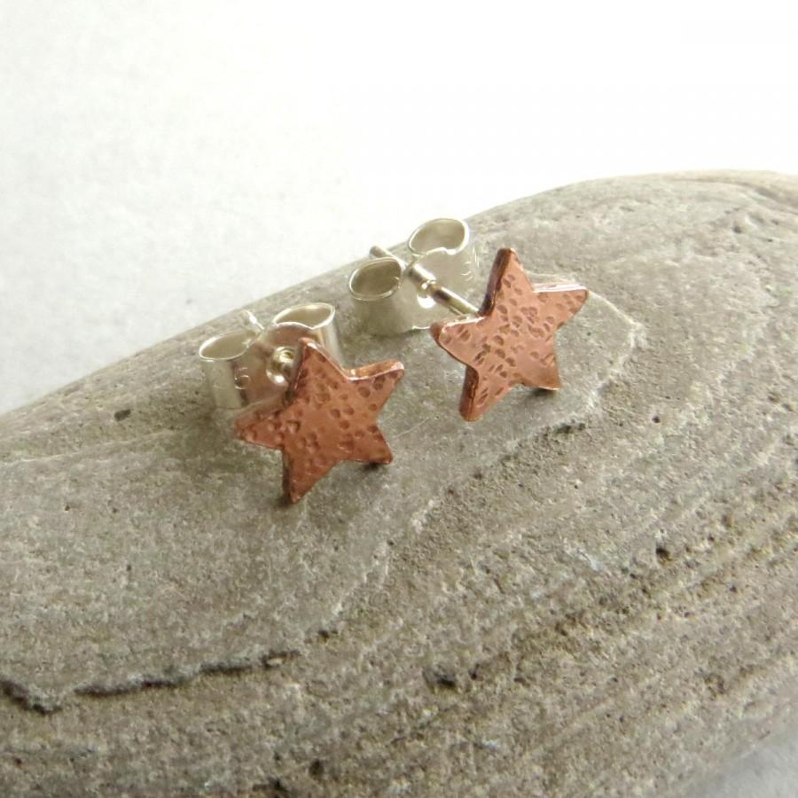 Wedding - Small copper star earrings, Celestial studs, Copper anniversary gift, 7 year wedding gift for wife, Astronomy jewellery