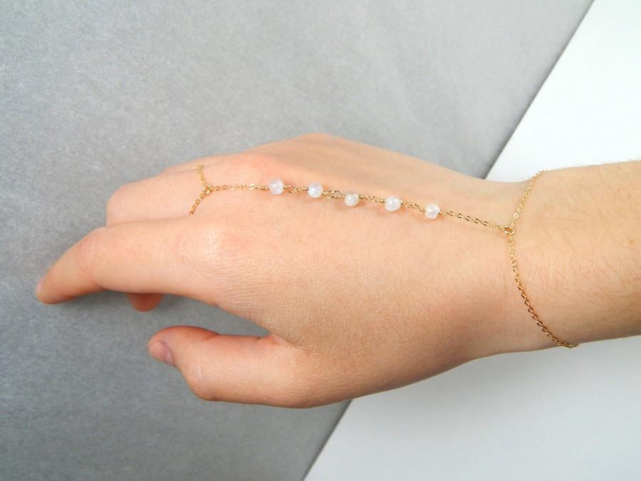 Wedding - White moonstone finger bracelet, gold filled, labradolite finger bracelet, dainty slave bracelet, white bead finger bracelet, gift for her